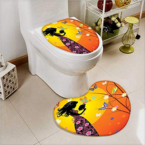 (aolankaili Bathroom Non-Slip Floor Mat Teen Butterflies and Girl in Dress with Bouquet Orange Black Cushion Non-Slip)