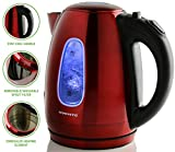 electric red tea kettle - Ovente 1.7 Liter BPA-Free Stainless Steel Cordless Electric Kettle, 1100-Watts, Auto Shut-Off and Boil-Dry Protection, Matte Black Cool-Touch Handle, Red (KS96R)