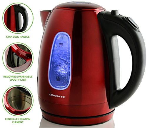 Ovente 1.7 Liter BPA-Free Stainless Steel Cordless Electric Kettle, 11