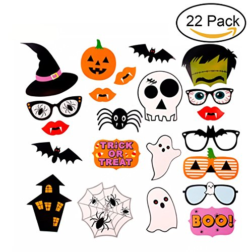Youniker 22 PCS Happy Halloween Photo Booth Props,Funny