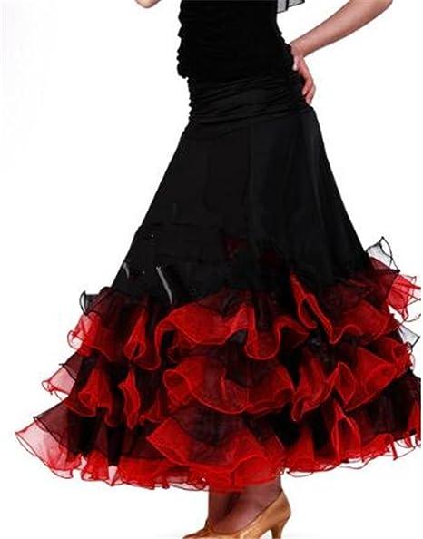 peiwen Falda de Baile de salón de Baile para Mujer/Falda de vals ...