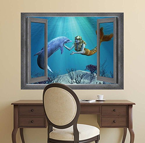 Open Window Creative Wall Decor Beautiful Drawing of a Mermaid and Dolphin Interaction Wall Mural