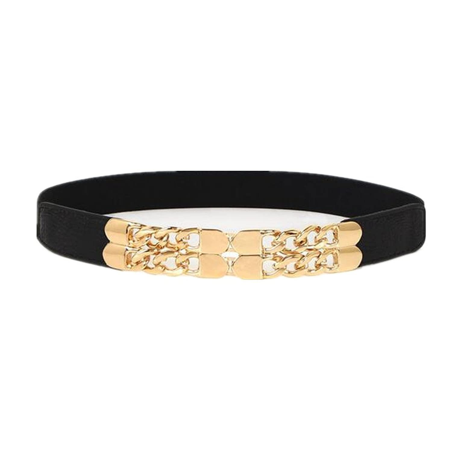 HLDIY Alloy Gold Buckle Women Elastic Waist Belt Three Colors Available