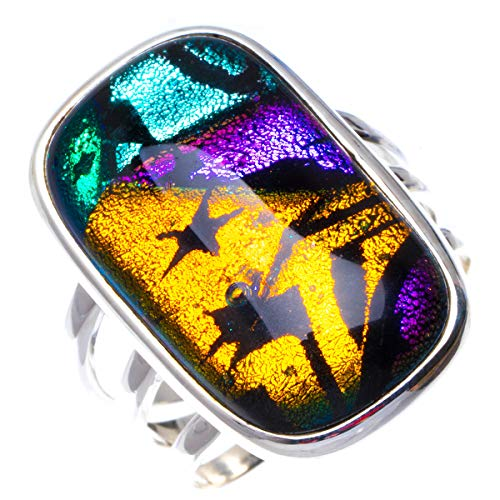- Natural Rainbow Dichroic Glass Handmade Unique 925 Sterling Silver Ring 8 B1114