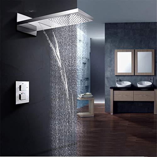 Bestyunyu Theromostatic Shower Faucets Waterfall Rain Bath Shower Faucet Chrome Wall Mount System