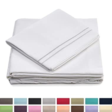 Cosy House Collection Queen Size Bed Sheets - White Luxury Sheet Set - Deep Pocket - Super Soft Hotel Bedding - Cool & Wrinkle Free - 1 Fitted, 1 Flat, 2 Pillow Cases - Queen Sheets - 4 Piece