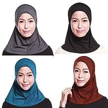 GladThink Womens Muslim Mini Hijab Caps Islamic Scarf 4 Pieces Set No.6
