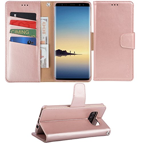 Price comparison product image Galaxy note 8 Case, Arae Samsung Galaxy note 8 wallet Case with Kickstand and Flip cover (Rose Gold)