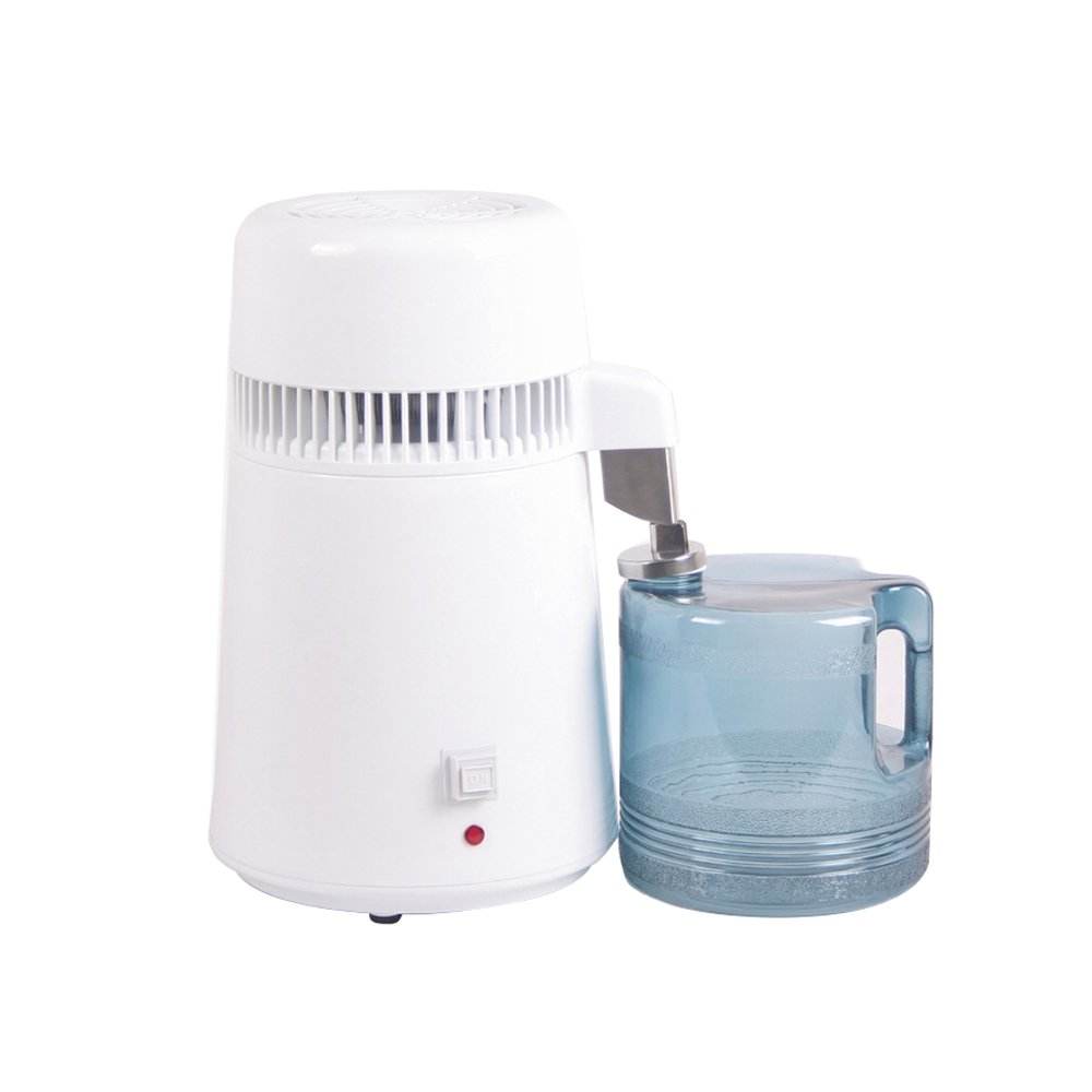 Funwill Countertop Water Distiller Machine Stainless Steel Interior Home Distilled Water Purifier Filter, Pure Water Maker with 4L Container