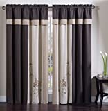 Collection 4-Piece Floral Embroidery Window Curtain Set, Coffee/Tan