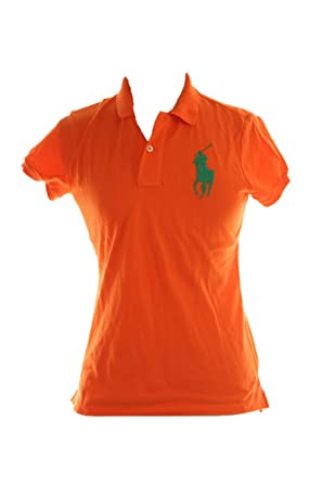 Polo Ralph Lauren Womens Skinny Fit Big Pony Polo Shirt (Bright Papaya, X-