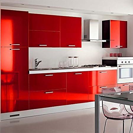 KINLO® selbstklebende folie küche Rot 61x500cm aus hochwertigem ... | {Küchenschrank folie 12}