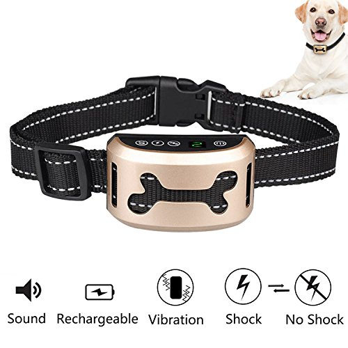 No Bark Collar Rechargeable Dog Training Collar with Vibration and No Harm Shock and 7 Sensitivity Levels with Reflective Strap for Small Medium Large Dogs By Mibote