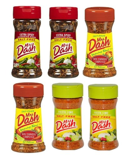 Mrs. Dash Spicy Seasoning Blend Bundle-2 SW Chipotle,2 Extra Spicy,2 Fiesta Lime (2.5oz)