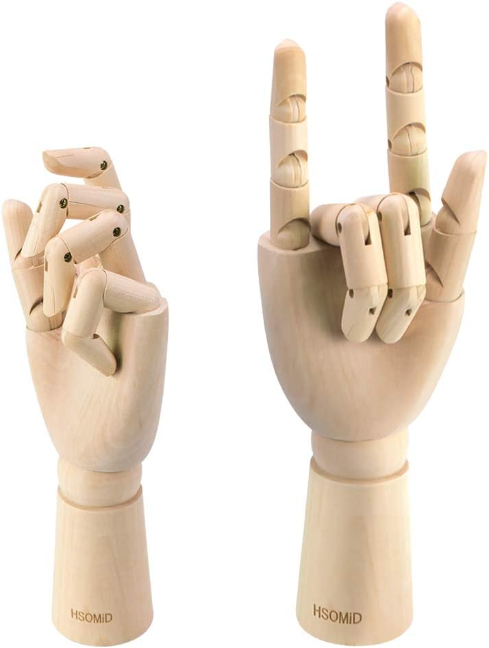 HSOMiD Flexible Wooden Hand Model Moveable Wooden Artists Manikin Hand Figure 10 Inches Right Hand Model for Sketching Drawing Painting Home Office Desk Decoration 10 Inch Right Hand