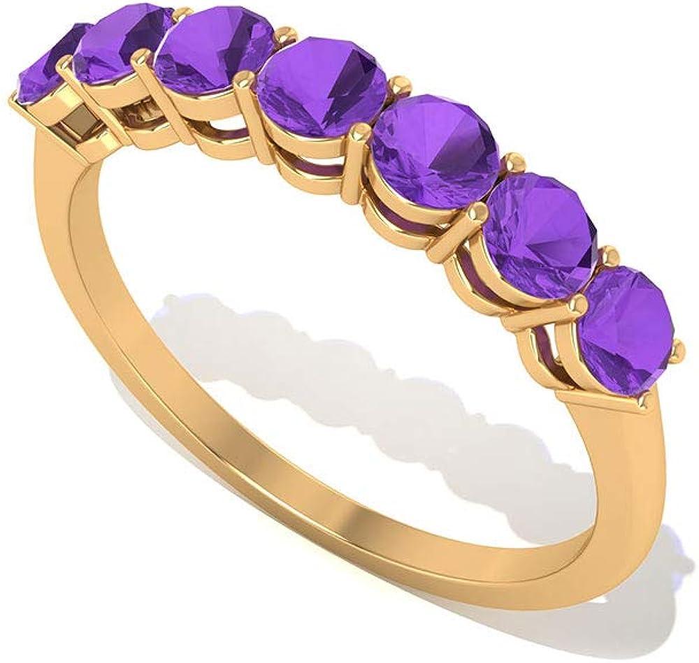 Anillo de boda de oro de amatista antiguo, elegante anillo de promesa de piedra natal de febrero, con certificación SGL, anillo apilable, anillo minimalista de aniversario de oro