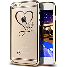 """iPhone 6S Case,iPhone 6 Case,GIZEE Sweet Love Heart Glitter Bling Crystal Rhinestone Diamonds Clear Rubber Gold Plating Frame TPU Soft Silicone Bumper Case Cover for iPhone 6/6S 4.7"""""""