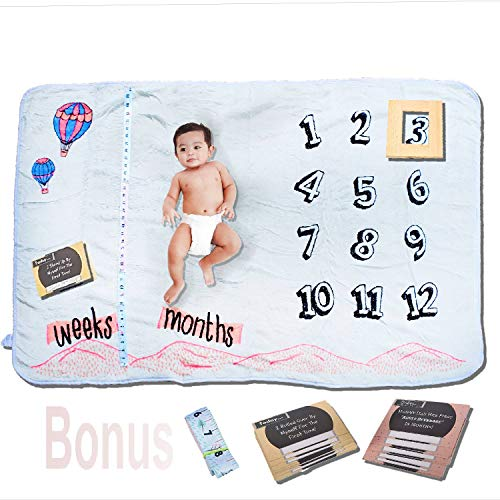 Large Premium Minky Fleece Monthly Milestone Blanket Baby...