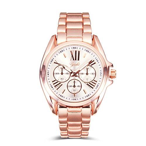 Yaki Neu Luxusuhren Damen Armbanduhr Analog Quarz Uhr Uhren mit Weiß Ziffernblatt Rose Gold Armband