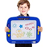 Magnetic Drawing Board, Doodle Toy Big Magnetic Erasable Magna, Writing Sketching Pad, Assorted Colors Writing Painting Sketching Pad Board for Toddler Boy Girl Kids Blue