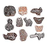 PARIJAT HANDICRAFT Printing Stamps Animal Design Wooden Blocks (Set of 11) Hand-Carved for Saree Border Making Pottery Crafts Textile Printing
