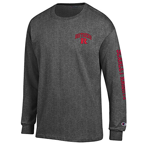 Rutgers Scarlet Knights Long Sleeve Tshirt Letterman Charcoal - XL