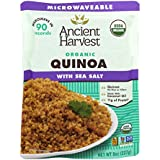 Ancient Harvest Microwaveable Heat-and-Eat Organic Quinoa with Sea Salt, 8 oz. Microwavable Pouches (Pack of 12), for Convenient Daily Protein