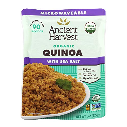 Ancient Harvest Certified Organic Microwavable Quinoa Pouch, Quinoa With Sea Salt, 8 oz (Pack of 12)
