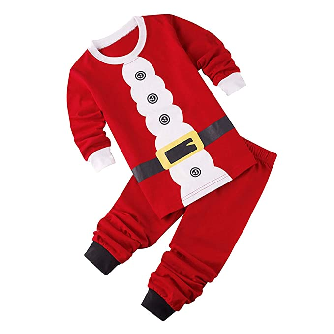 81fd05f359 Famiglia Pigiama di Natale Pajamas Xmas Renna Pantaloni T-Shirt 2pcs Natale  Babbo Natale Vestito