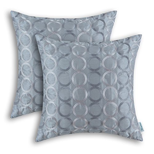 - CaliTime Pack of 2 Faux Silk Throw Pillow Covers Cases for Couch Sofa Home Decor Two-tone Circles Rings Geometric Chain Embroidered 18 X 18 Inches Gray