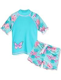 TFJH E Girls Swimsuit UPF 50+ UV Kids Two Piece Swimwear Sunsuit 2-6 Years (5-6Years(Tag No.6A), Aqua Flower)