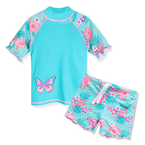TFJH E Girls Two Piece Butterflyflower Dots Printed Swimsuit UPF 50+ UV, Cyan Short, 7-8Years(Tag No.8A)