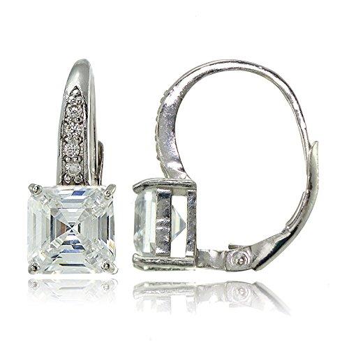 (Sterling Silver Cubic Zirconia Asscher Cut Leverback Earrings)