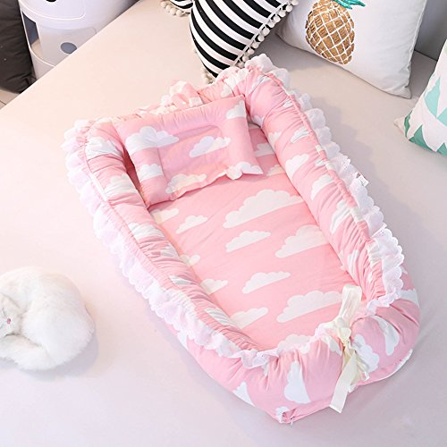 Ukeler Cotton Portable Travel Baby Infant Bed, Crib, Bassinet Baby Nest for Baby Lounger, Infant Lounger, Newborn Lounger Breathable, Hypoallergenic-Perfect for Co-Sleeping