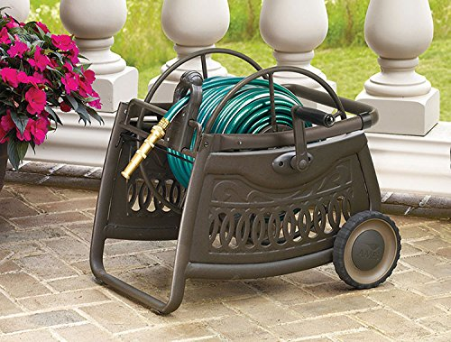 The Ames Companies, Inc 2517000 NeverLeak Decorative Metal Hose Cart with 150-Foot Hose Capacity