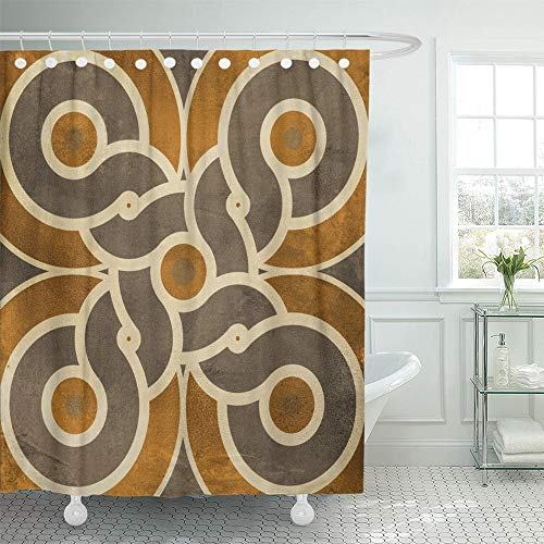 Emvency Shower Curtain Set Waterproof Adjustable Polyester Fabric Abstract Marble Floor Tiles Pattern Porcelain Wall for Architecture Countertop 66 x 72 inches Set with Hooks for Bathroom