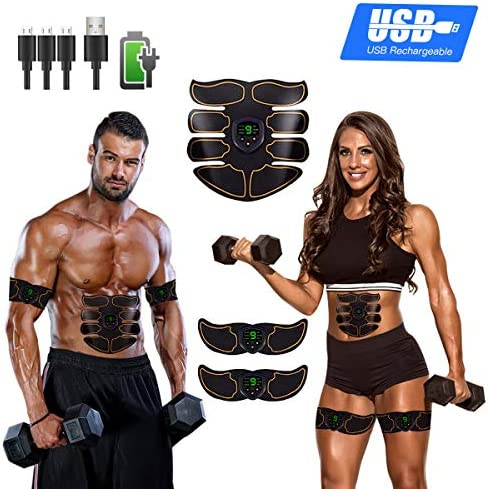 Abs Stimulator Ab Stimulator Muscle Toner Rechargeable Muscle Trainer Ultimate Abs Stimulator for Men Women Abdominal Work Out Ads Power Fitness Abs Muscle Training Gear ABS Workout Equipment Portable