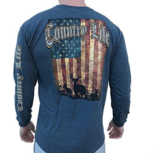 - Country Life Deer American Flag Dark Heather Gray Long Sleeve Shirt (Large)