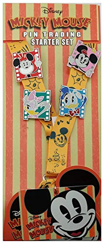 Disney Parks Mickey Mouse Pin Trading Starter Set Lanyard - Mickey, Minnie, Daisy and Donald Duck