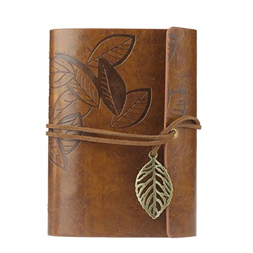 Tinksky Vintage Style PU Cover Journal Notebook Diary (Loose-leaf,String Bound,Brown)