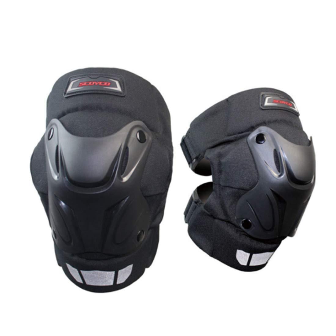 Cvthfyk Motorrad Knieschützer Erwachsene Atmungsaktiv Einstellbar Aramidfaser Motocross MTB Schienbeinschoner für Reiten Radfahren Skaten (Farbe : Schwarz)