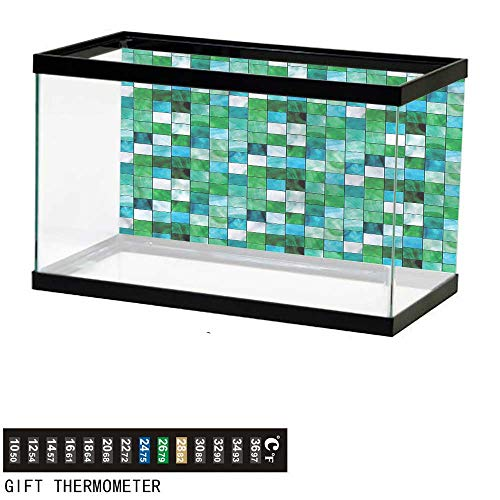bybyhome Fish Tank Backdrop Emerald,Mosaic Square Tiles Aquatic,Aquarium Background,36