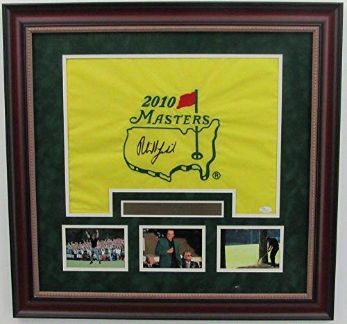 Phil Mickelson Signed 2010 Masters Framed Pin Flag 139690 JSA Certified Autographed Pin Flags