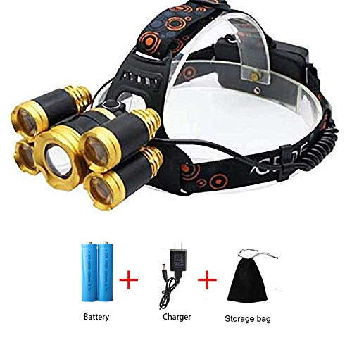 F·JIEHO Headlamp Brightest CREE LED Headlight( USB Rechargeable、Four Light Modes)Waterproof Zoomable Head Lamp )Best for Camping、 Outdoors、Hard Hat、Cycling Hiking (gold、yellow)