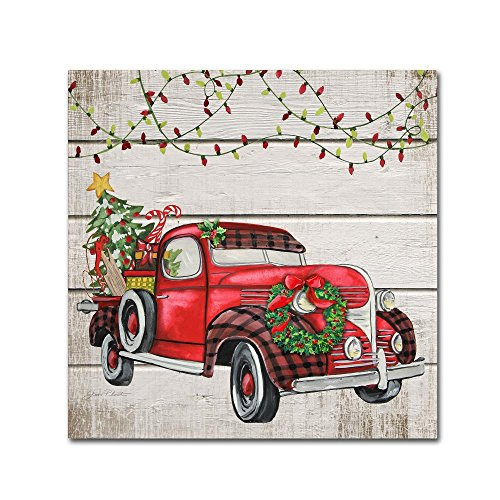 Vintage Christmas Truck 1 by Jean Plout, 14x14-Inch Canvas Wall ()