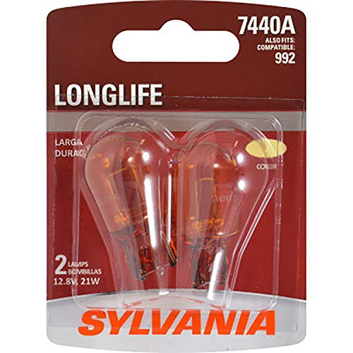 SYLVANIA - 7440A Long Life Miniature - Amber Bulb, Ideal for Park and Turn Signals (Contains 2 Bulbs)