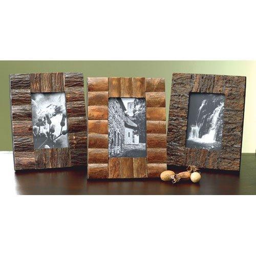 KINDWER Rustic Tree Bark Wood Frames, 4 by 6-Inch, Set of - Frame Bark