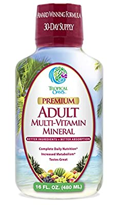 Tropical Oasis Multi Vitamin and Mineral Liquid Supplement ,16 fl oz, 32 servings