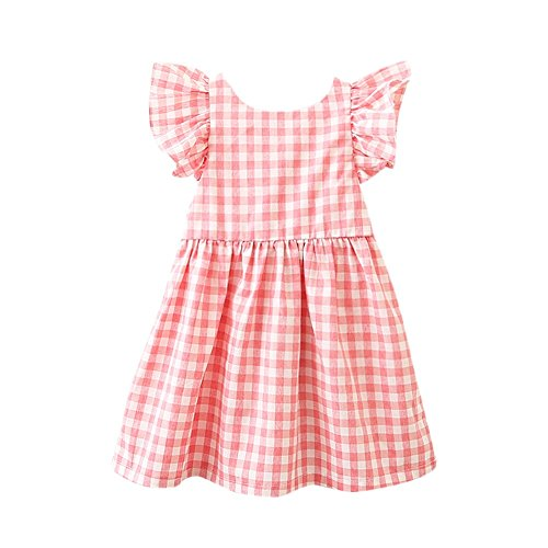(TOPUNDER Plaid Print Bowknot Strap Backless Princess Dress Clothes Children Infant Girls)