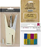 DIY Shop 3 Heavy Duty Mini Gold Stapler Bundle with Tiny Attacher Silver Staples Refills and DIY Shop Basic Colors Staples Refills (Set of 3 Items)